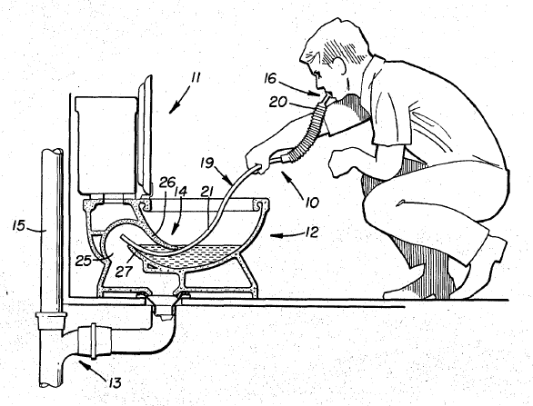586x447 Cross Section Drawing Of A Toilet Snorkel Being Used By A Man