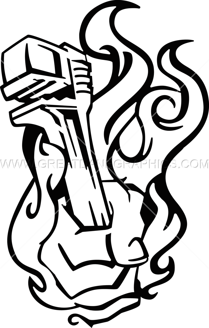 825x1293 Flaming Pipe Wrench Production Ready Artwork For T Shirt Printing