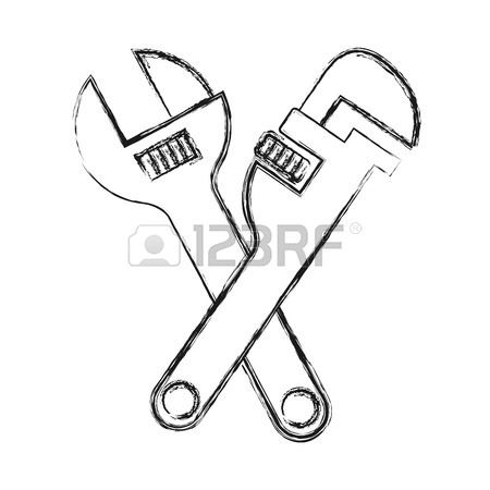 450x450 Pipe Wrench And Wrench Crossed Icon Over White Background Vector