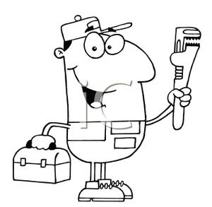 300x293 Black White Cartoon Of A Plumber With A Pipe Wrench