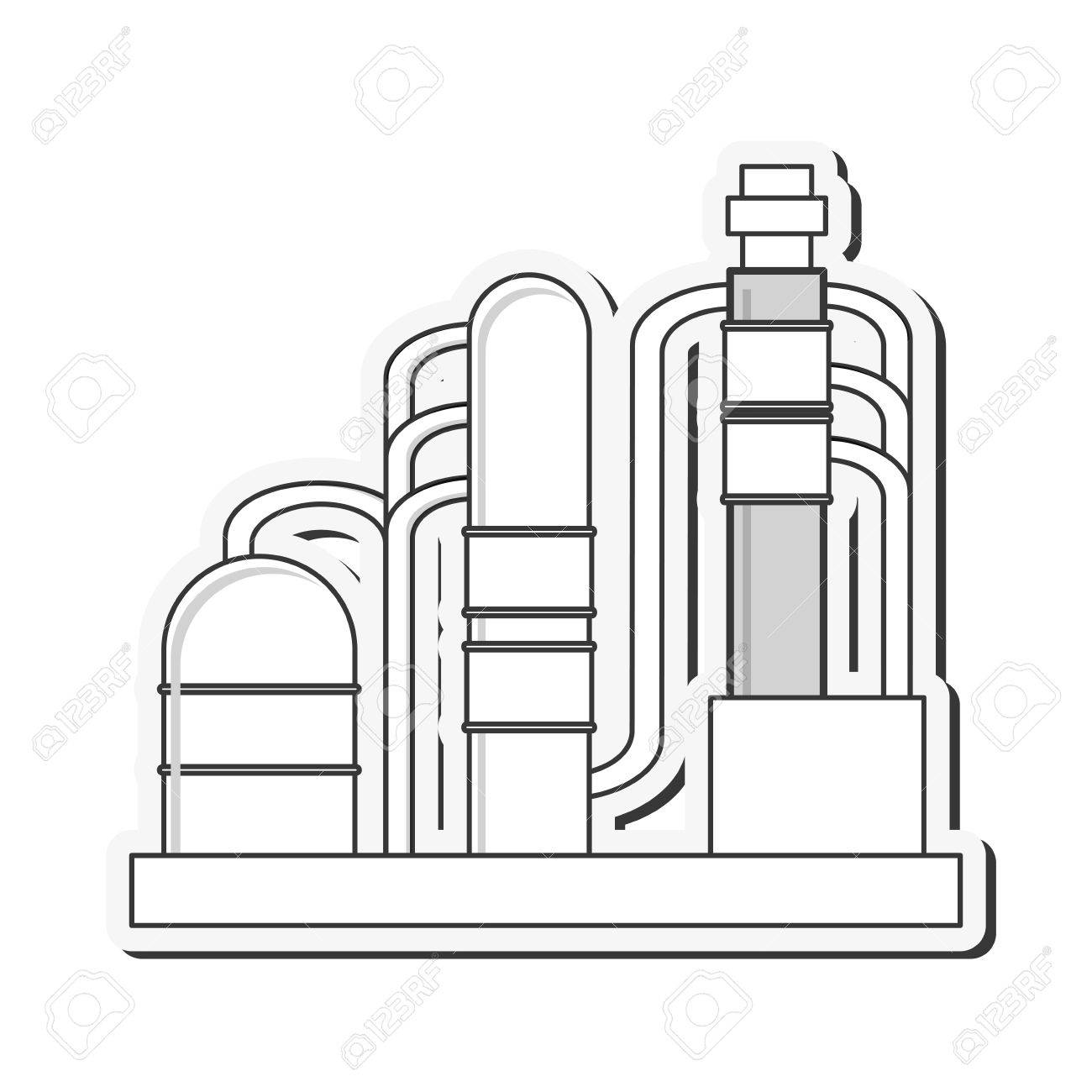 1300x1300 Flat Design Oil Refinery Pipeline Bridge Icon Vector Illustration
