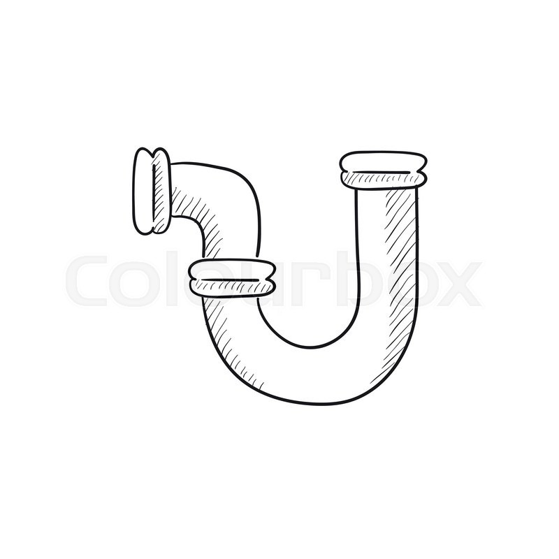 800x800 Water Pipeline Vector Sketch Icon Isolated On Background. Hand
