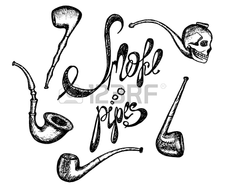 450x377 Hand Drawn Vintage Smoking Pipe. Sketch Style. Vector Illustration