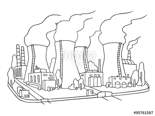 500x375 Industrial Sketch Of Nuclear Power Station. Doodle Factory