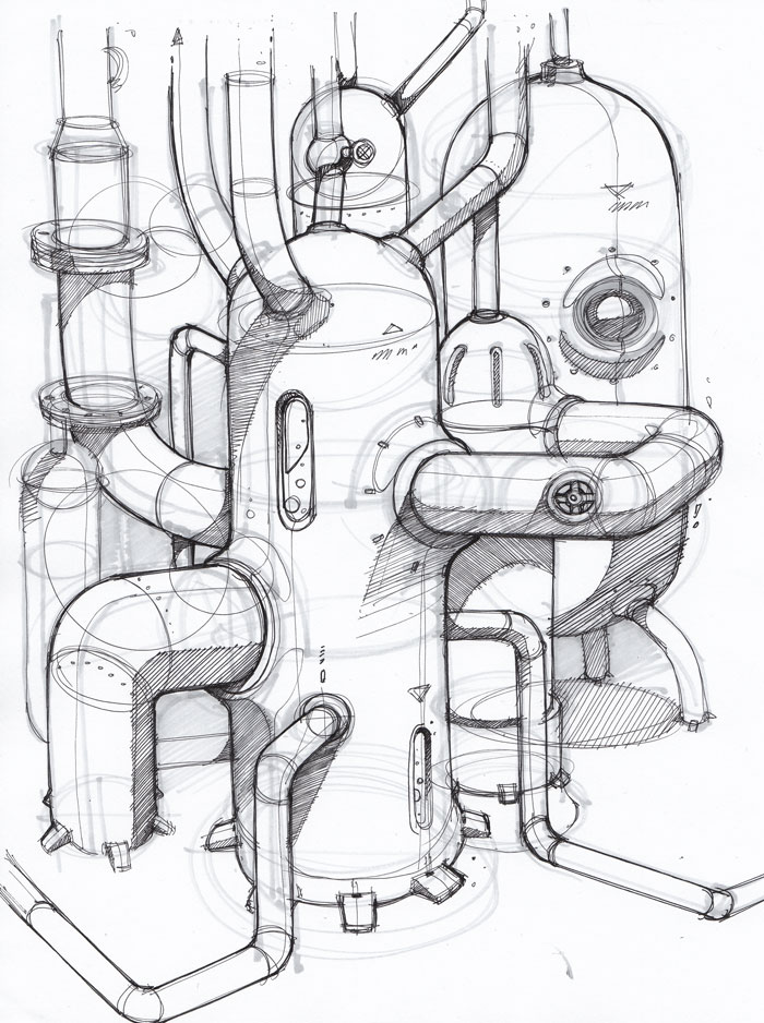 700x938 Interesting Pipes And Technique. Concept Art