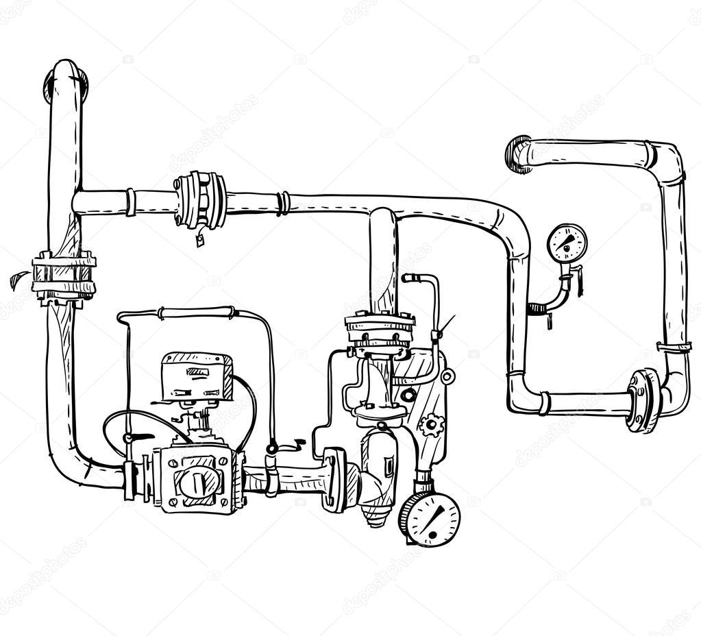 1023x928 Boiler Room. Pipes. Vector Sketch. Stock Vector Kamenuka