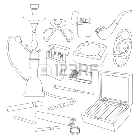 450x450 Visual Guide Of Classic Tobacco Pipe Shapes. Collection Of Hand