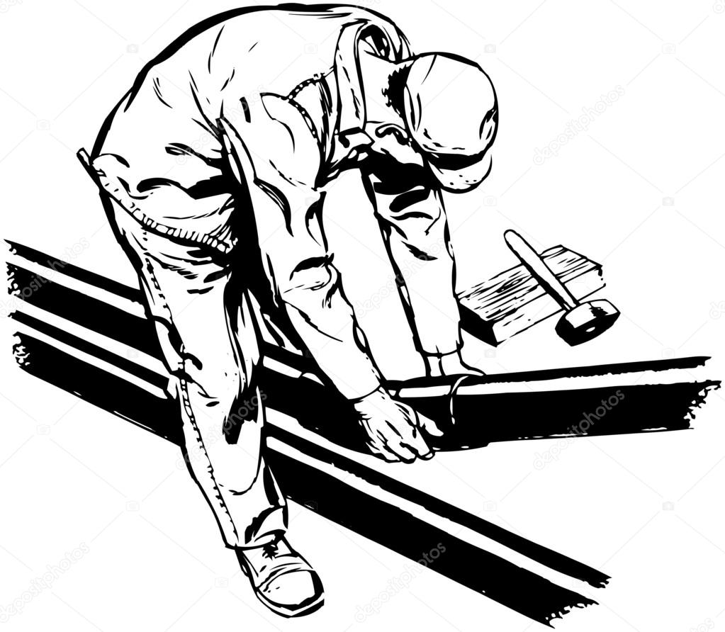 1023x892 Worker Fitting Pipes Stock Vector Retroclipart