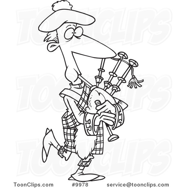 581x600 Cartoon Black And White Line Drawing Of A Guy Playing Bag Pipes