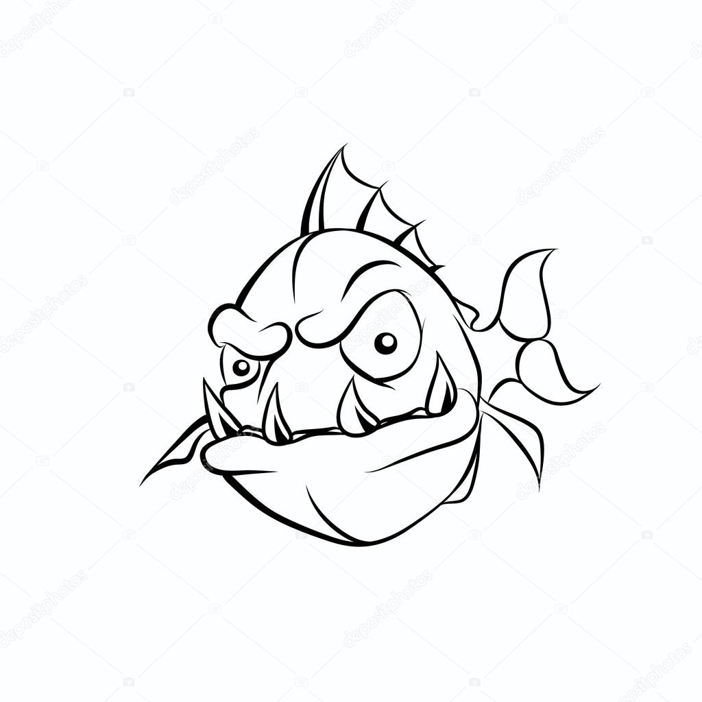 Piranha Drawing at GetDrawings.com | Free for personal use Piranha ...