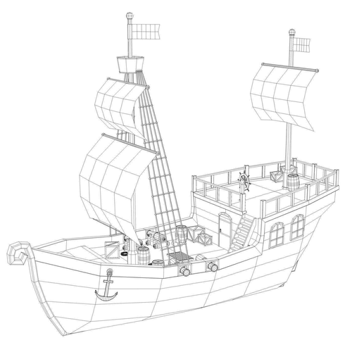 500x500 Low Poly Pirate Ship 3d Model Cgtrader