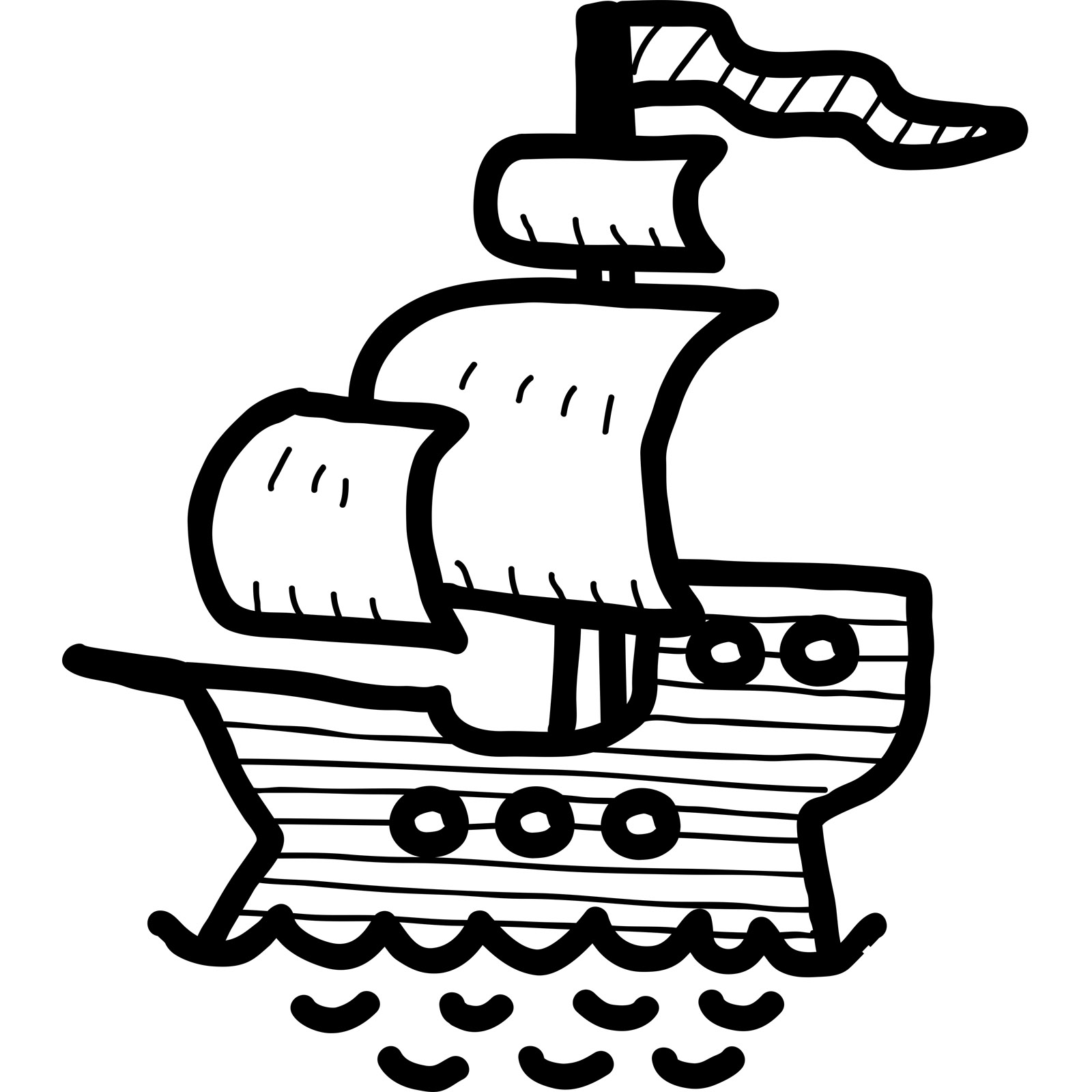 1600x1600 Cartoon Pirate Ship Kids Wall Sticker