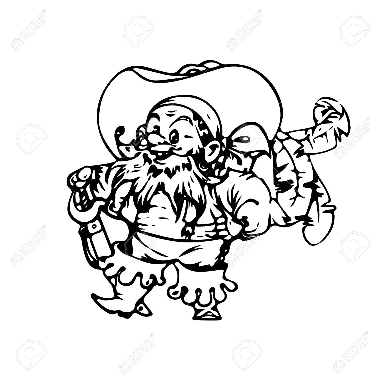1300x1300 Cheerful Pirate, With A Sword. Silhouette Drawing, Cartoon