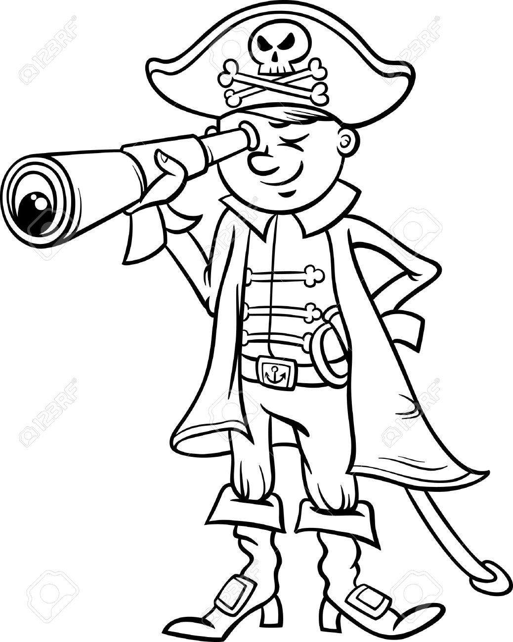 1038x1300 Black And White Cartoon Illustration Of Funny Pirate Or Corsair
