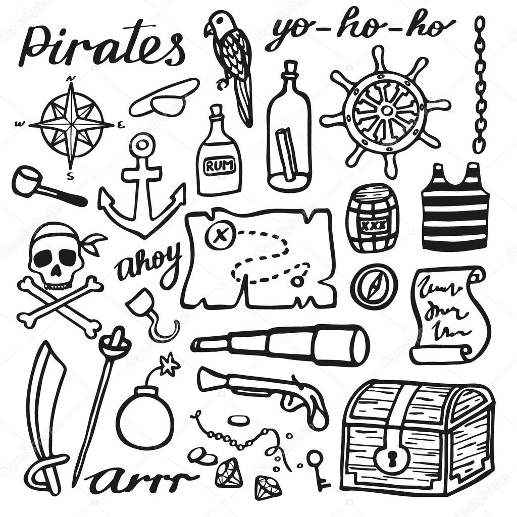 1024x1024 Pirate Set, Sea And Treasures. Hand Drawn Cartoon Collection