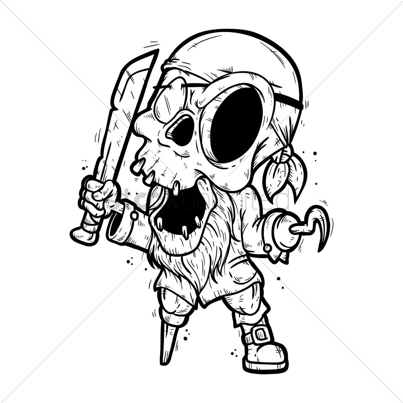 1300x1300 Skeleton Pirate Vector Image