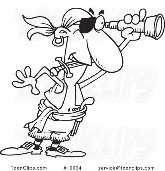 581x600 Cartoon Black And White Line Drawing Of A Pirate Using A Spyglass