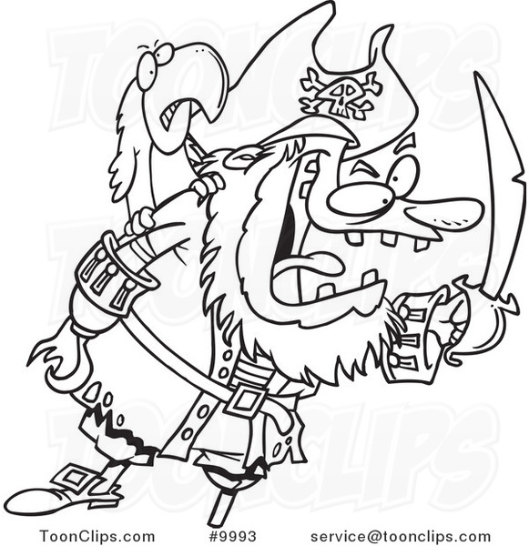 581x600 Cartoon Black And White Line Drawing Of A Tough Pirate And Bird