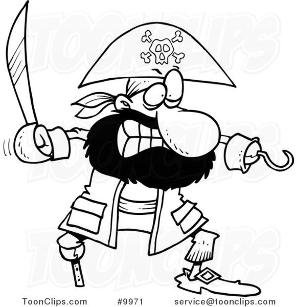 581x600 Cartoon Blacknd White Line Drawing Of Tough Pirate
