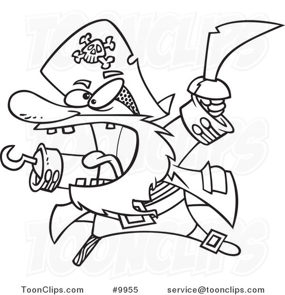 581x600 Cartoon Black And White Line Drawing Of An Attacking Pirate