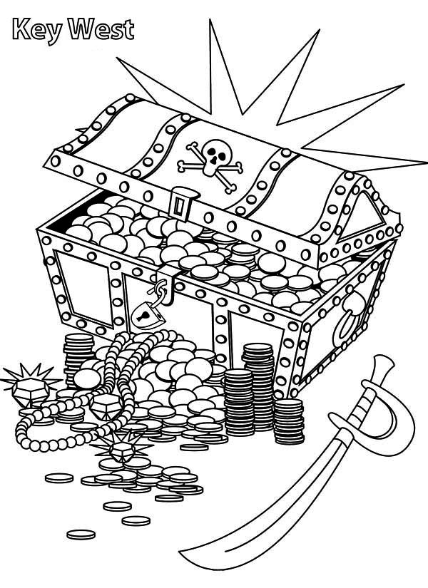 treasure chest lock coloring pages - photo#30