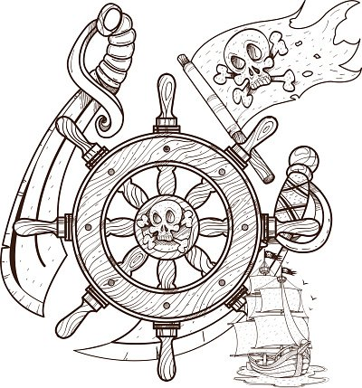400x429 Steering Wheel, Sword, Jolly Roger, Pirate Graphics Pirate Premium