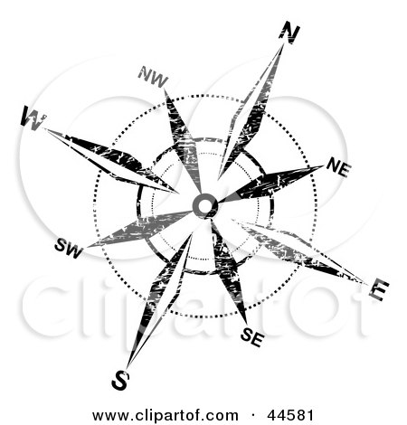 450x470 Clipart Illustration Of A Distressed Black And White Compass Rose