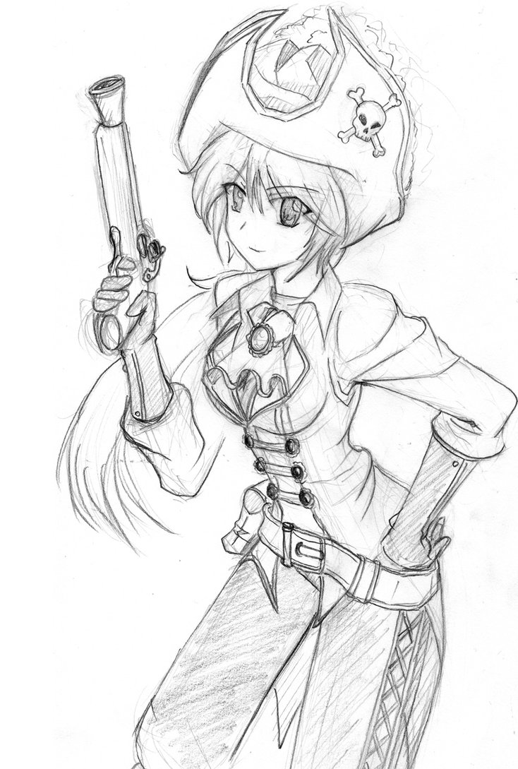 734x1089 Ayaka The Pirate (Sketch) By Thurosis