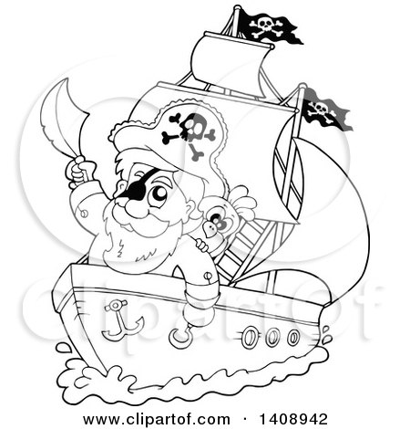 450x470 Clipart Sketched Drawing Of A Pirate Ship And Treasure Island