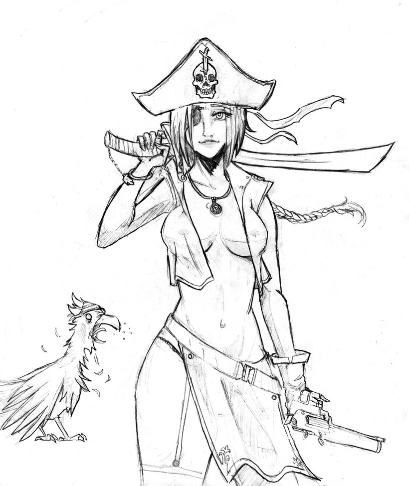 820x975 Female Pirate Drawings Female Pirate Drawings