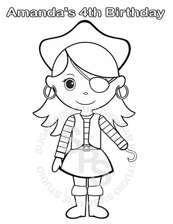 570x737 Personalized Printable Pirate Girl Birthday Party Favor Childrens