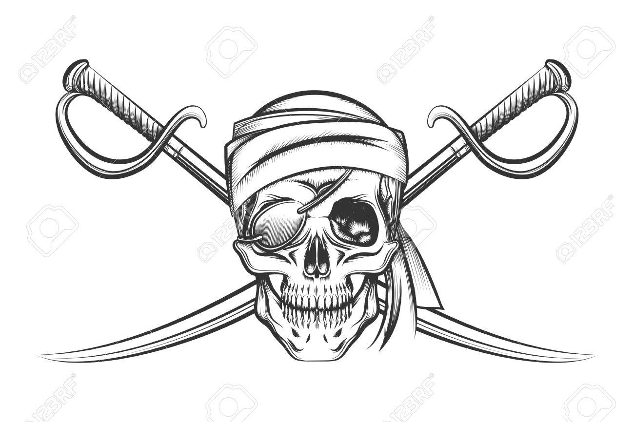 1300x866 Pirate Symbol Of A Skull In The Captain's Hat And Two Crossed