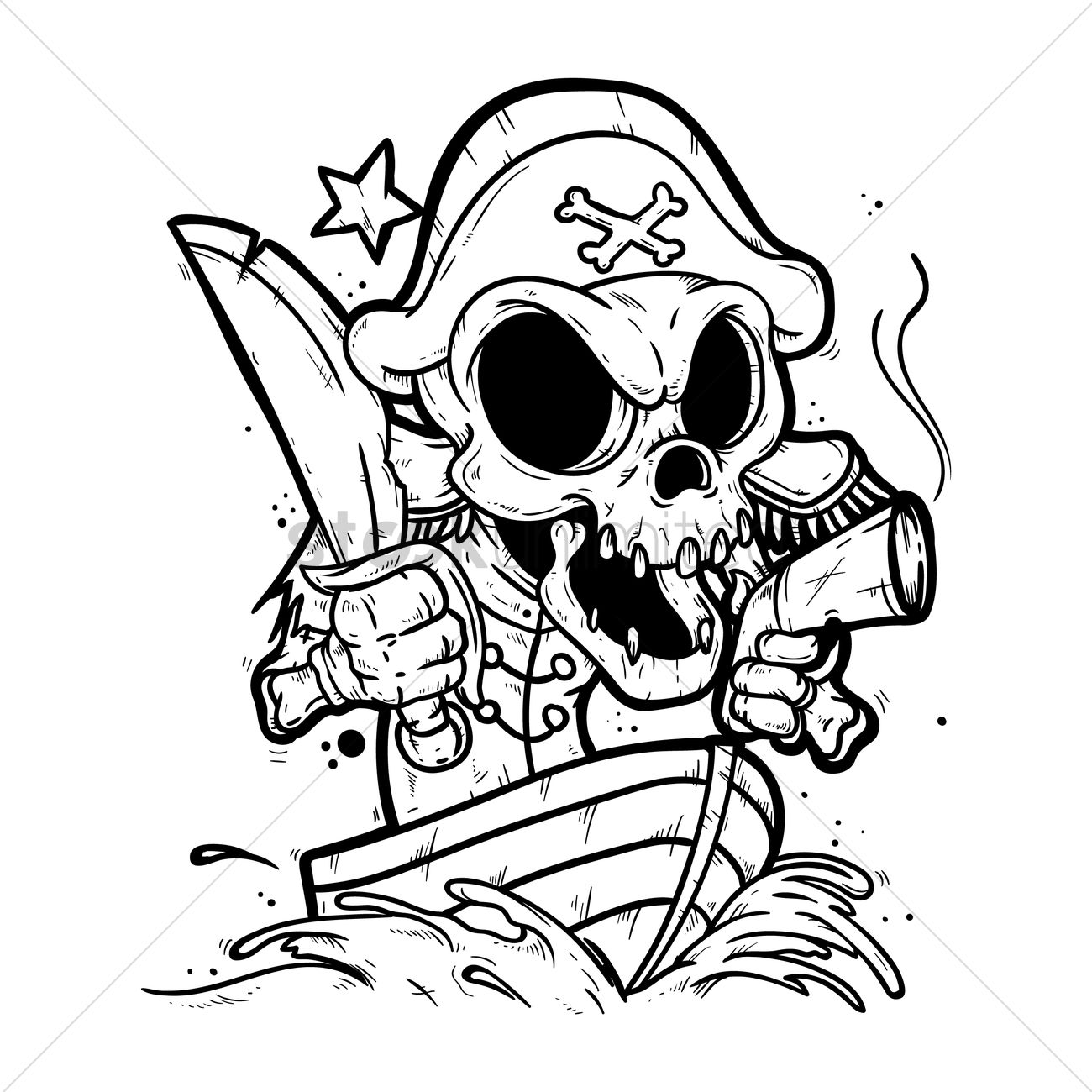 1300x1300 Skeleton Pirate In A Boat Vector Image