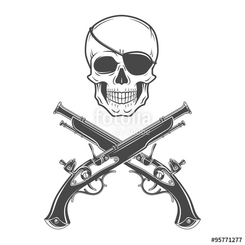 500x500 Jolly Roger With Eyepatch And Pistols Logo Template. Evil Skull