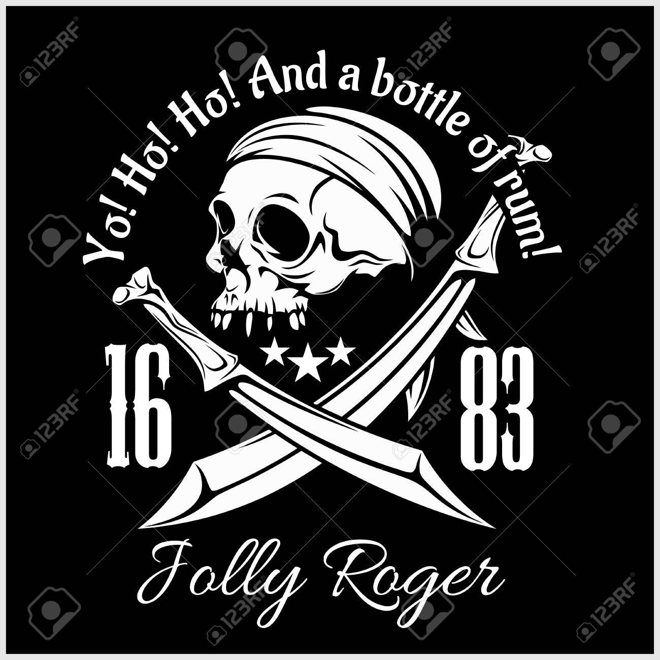 1300x1300 Pirates Jolly Roger Symbol. Vector Poster Of Skull With Pirate Eye
