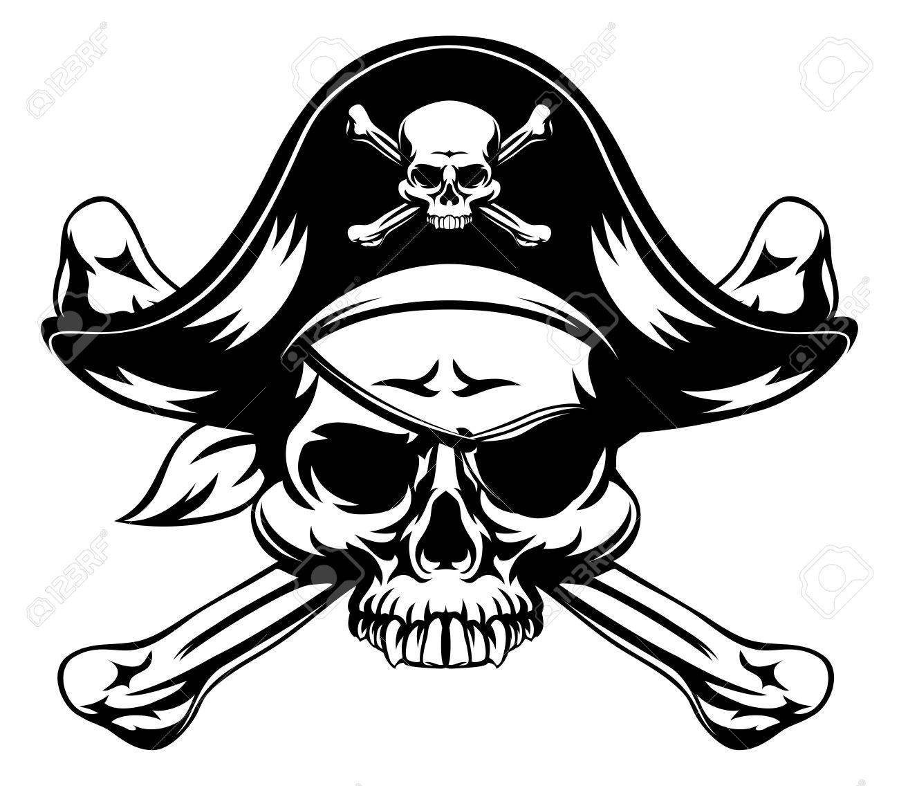 1300x1136 Skull And Crossbones Pirate Jolly Roger Wearing Hat And Eye Patch