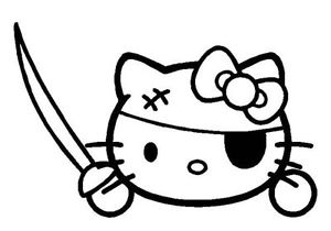 300x210 Hello Kitty Pirate Kitty Eye Patch Decal Sticker You Pick Color