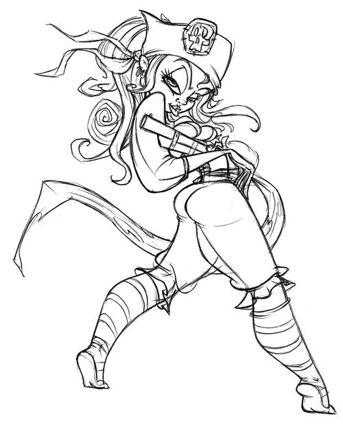 Pirate Girl Drawing