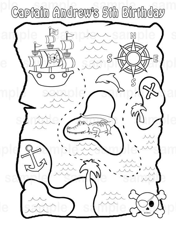 570x738 Personalized Printable Pirate Treasure Map Birthday Party Favor