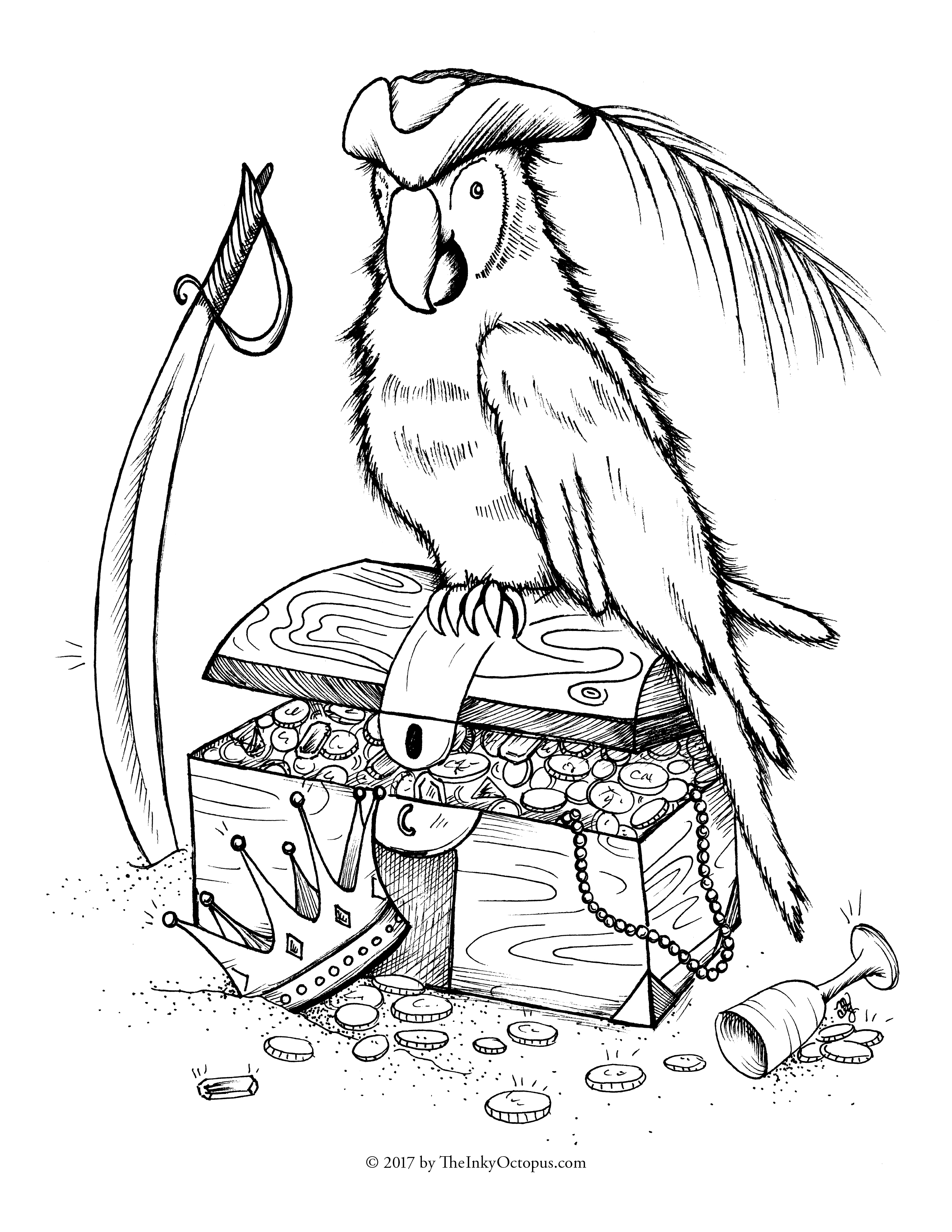 Pirate parrot drawing at free for for Pirate hat coloring page