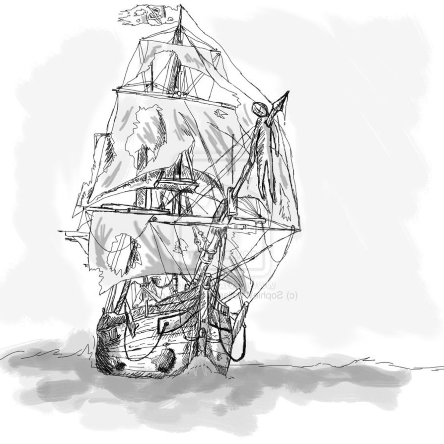 894x894 Pirate Ship Tattoo Drawing Ghost Pirate Ship Tattoos Ideas