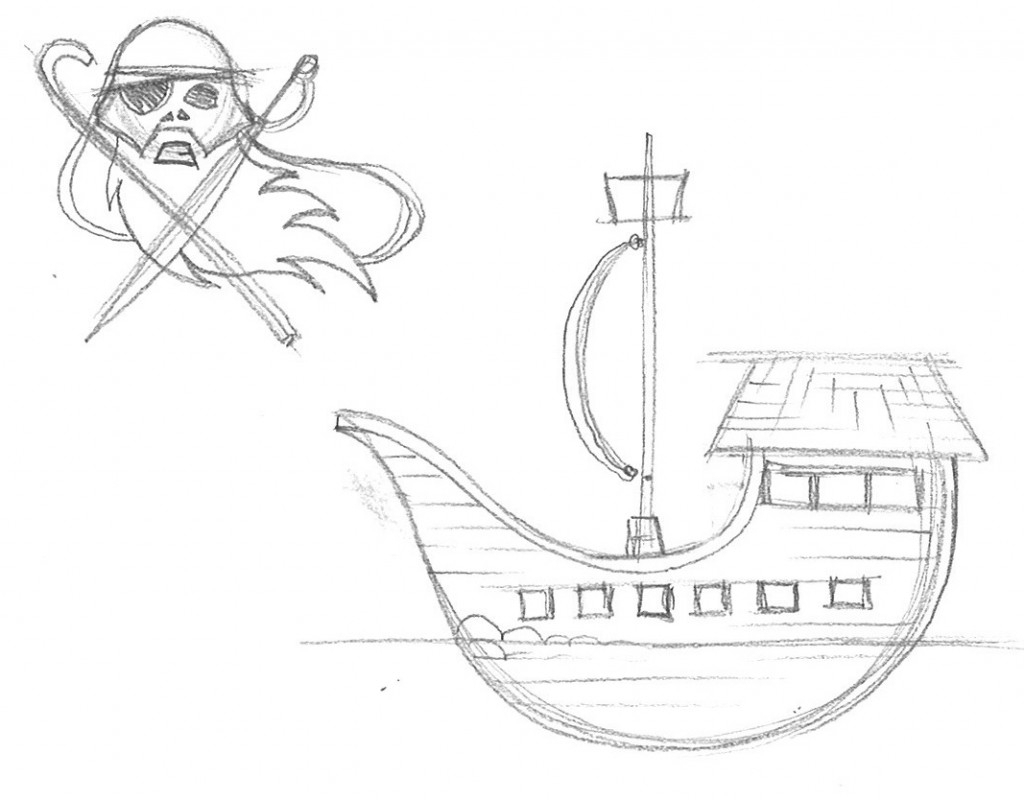1024x800 Simple Drawing Of A Ship Simple Pirate Ship Side View Drawing