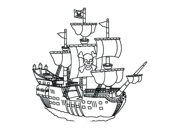 600x450 Ship Coloring Pages Big Pirate Ship Coloring Pages For Kids Print