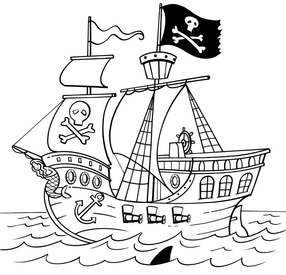 Pirate Ship Line Drawing