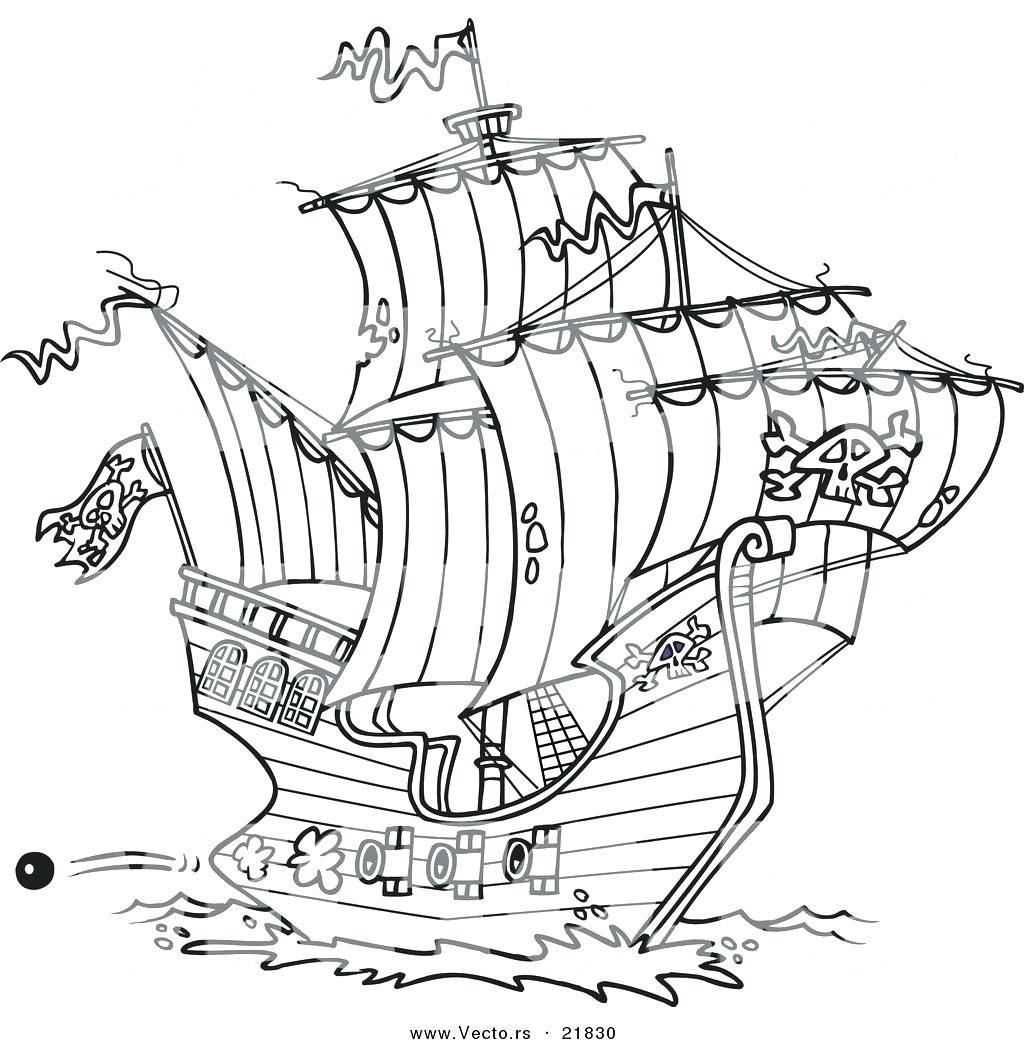 Pirate Ship Line Drawing at GetDrawings | Free download