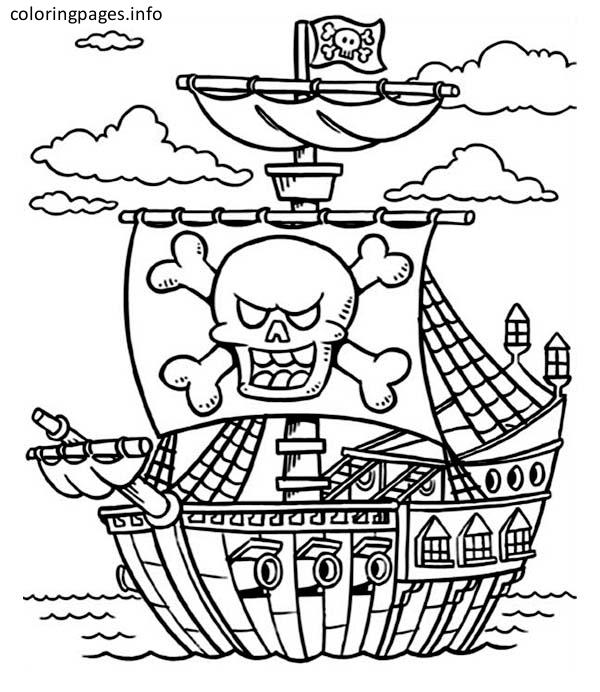 free coloring pages of pirate ship | Pirate Ship Line Drawing at GetDrawings.com | Free for ...