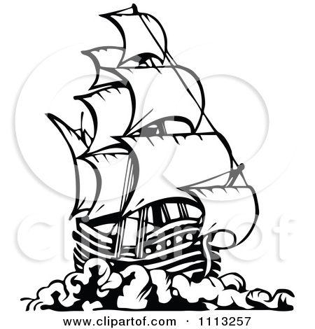 Pirate Ship Pencil Drawing