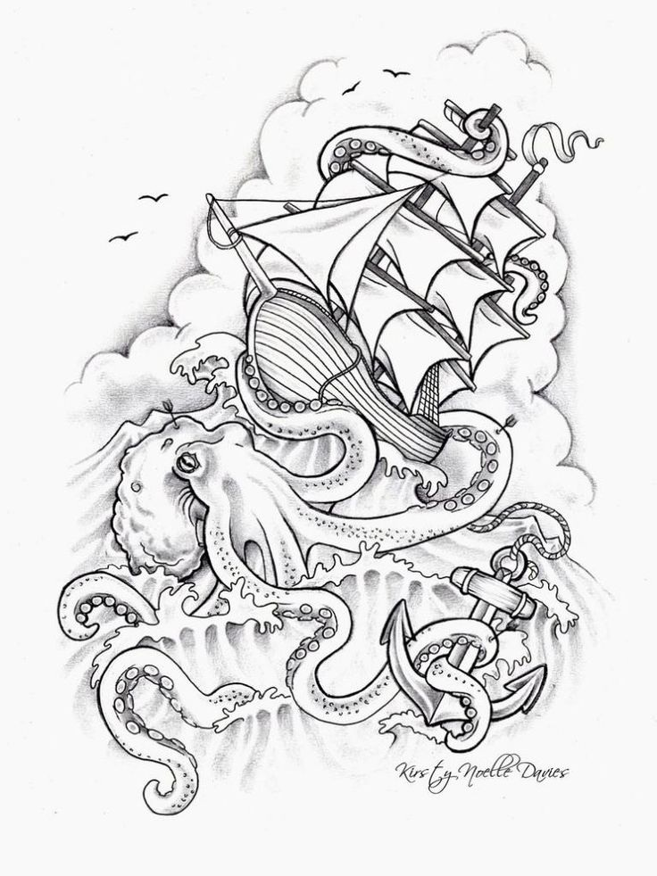 736x982 Pirate Ship And Kraken Drawing Sunglassesray