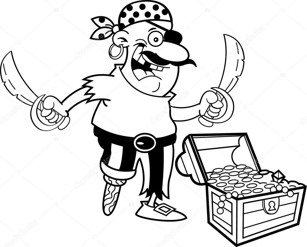 1023x822 Cartoon Pirate With A Treasure Chest. Stock Vector Kenbenner