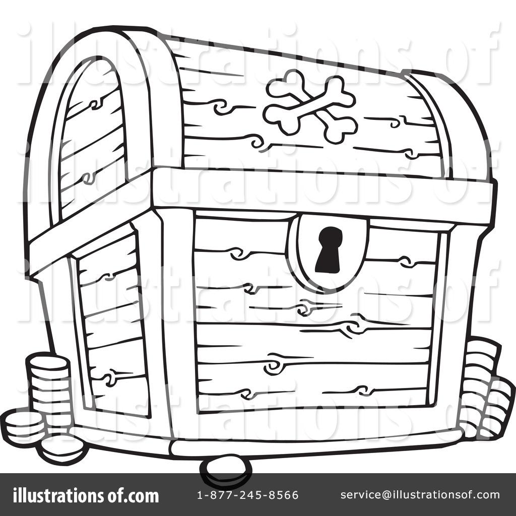 1024x1024 Pirate Treasure Chest Clipart Black And White